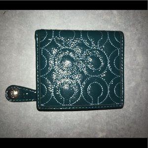 Dark teal Coach bifold wallet